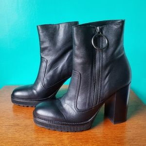 Zara Black Leather Moto Boots with Heel Size 8
